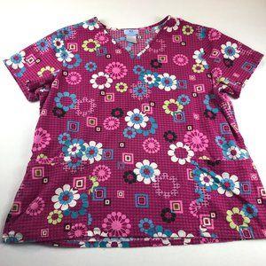 SB Scrubs Womens Top Size XL Funky Floral Geometric Fun Multicolor 100% Cotton